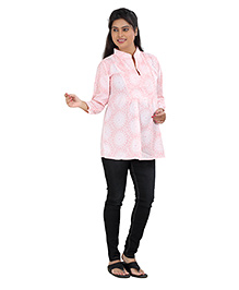 Uzazi Three Fourth Sleeves Maternity Top - Pink