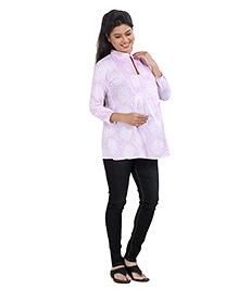 Uzazi Three Fourth Sleeves Maternity Top - Lavender