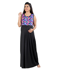 Uzazi Sleeveless Long Maternity Maxi Dress - Black