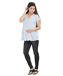 Uzazi Short Sleeves Maternity Nursing Top All Over Heart Print - Blue
