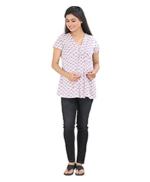 Uzazi Short Sleeves Maternity Nursing Top All Over Heart Print - Voilet