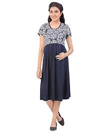 Uzazi Half Sleeves Printed Nursing Wear Dress - Navy