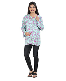 Uzazi Full Sleeves Nursing Top Floral Print - Blue