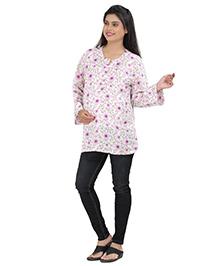 Uzazi Full Sleeves Nursing Top Floral Print - White Pink