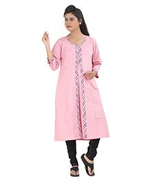Uzazi Three Fourth Sleeves Maternity Nursing Long Kurta - Pink