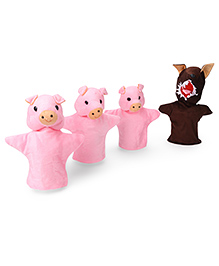 IR Hand Puppet 3 Little Pigs Set Set Of 4 - Pink Brown