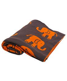 Pluchi Indian Elephants Knitted Blankets - Brownish Grey & Orange