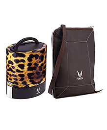 Vaya Insulated Lunch Box With Bag Cheetah Design Brown - 1000 Ml
