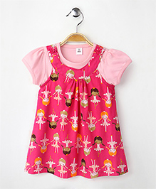 ToffyHouse Sleeveless Frock With Inner Girl Print - Pink