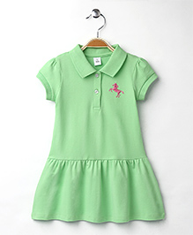 ToffyHouse Half Sleeves Collar Frock With Horse Design - Light Green