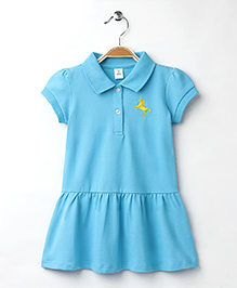 ToffyHouse Half Sleeves Collar Frock With Horse Design - Blue