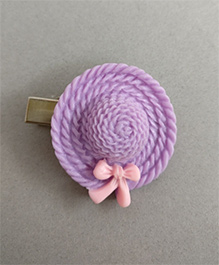 Tiny Closet  Hat With A Bow Hair Clip - Purple