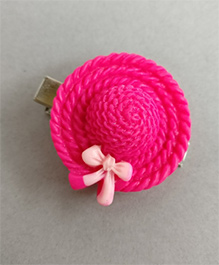Tiny Closet  Hat With A Bow Hair Clip - Hot Pink