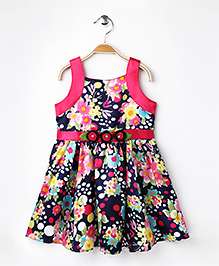 Enfance Core Floral Dress With Flower Applique - Pink