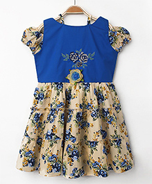 Enfance Core Casual Dress With Flower Applique - Cream & Blue