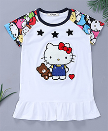 Pinkalicious Raglan Printed Sleeves With Star Patchwork Dress - White & Multi Color