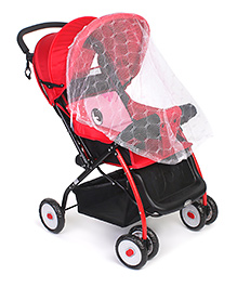 Stroller Cum Pram With Mosquito Net - Red & Black