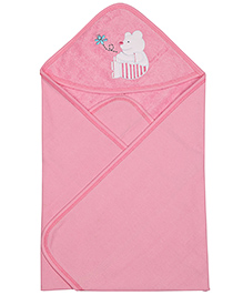 Teddy print wrapper with hood