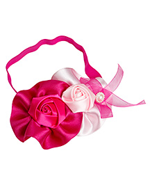 Keira's Pretties Rose Design Headband With Floral Applique - Pink & White