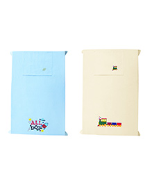 Baby Rap Trains & Spaceships Crib Sheet With Pillow Cover Set Of 2 - Blue Yellow