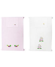 Baby Rap Caterpillars & Ducks In Flowers Crib Sheet With Pillow Cover Set Of 2 - Pink White