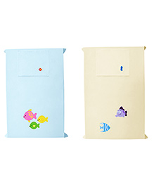 Baby Rap Lots Of Fishes Crib Sheet With Pillow Cover Set Of 2 - Blue Yellow