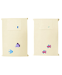 Baby Rap Spaceships N Fishes 3 Crib Sheet With Pillow Cover Set Of 2 - Yellow