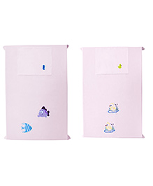 Baby Rap Fishes N Ducks 2 Crib Sheet With Pillow Cover Set Of 2 - Pink