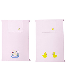 Baby Rap Ducks With Flowers Crib Sheet With Pillow Cover Set Of 2 - Pink