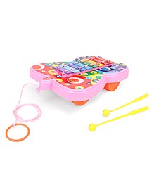 Ratnas Pull Along Butterfly Shape Xylophone - Pink Yellow