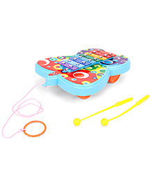 Ratnas Pull Along Butterfly Shape Xylophone - Blue Yellow
