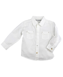 Shopper Tree - White Plain Full Sleeves Shirt