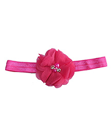 Angel Closet Floral Headband With Pearl Embellishment - Bright Pink