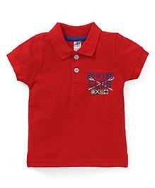 Zero Half Sleeves Tee Rowing Club Print - Red