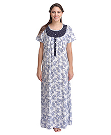 Clovia Half Sleeves Maternity Nursing Nighty Floral Print - White Navy