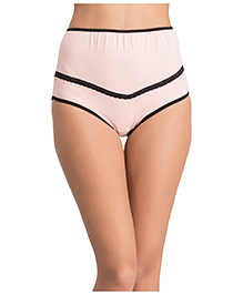 Clovia High Waist Maternity Hipster With Lace - Light Pink
