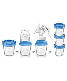 Adore Stack On Manual Breast Pump With 3 Bottles - Blue