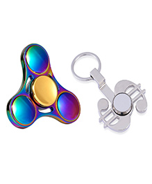 Emob UFO Rainbow Fidget Spinner & Dollar Keychain Combo - Multi Color