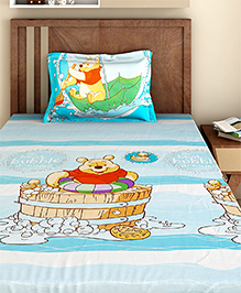 Bombay Dyeing Single Bed Sheet And Pillow Cover Set Winnie The Pooh Print - Blue