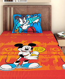 Bombay Dyeing Single Bed Sheet And Pillow Cover Set Mickey Mouse Print - Red