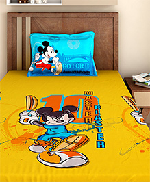 Bombay Dyeing Single Bed Sheet And Pillow Cover Set Mickey Mouse Print - Yellow