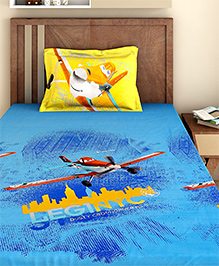 Bombay Dyeing Single Bed Sheet And Pillow Cover Set Disney Planes Print - Blue