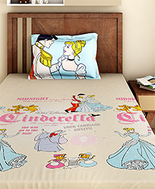Bombay Dyeing Single Bed Sheet And Pillow Cover Set Cinderella Print - Beige