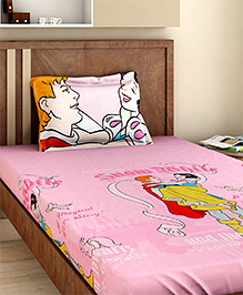 Bombay Dyeing Single Bed Sheet And Pillow Cover Set Snow White Print - Pink