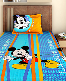 Bombay Dyeing Single Bed Sheet And Pillow Cover Set Mickey Mouse Print - Blue