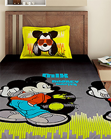 Bombay Dyeing Single Bed Sheet And Pillow Cover Set Mickey Mouse Print - Grey