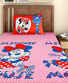 Bombay Dyeing Single Bed Sheet And Pillow Cover Set Minnie Mouse Print - Pink