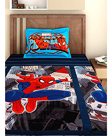 Bombay Dyeing Single Bed Sheet And Pillow Cover Set Spider Man Print - Black