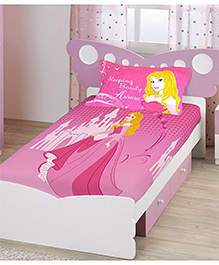 Bombay Dyeing Single Bed Sheet And Pillow Cover Set Sleeping Beauty Print - Pink