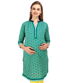 MomToBe Three Fourth Sleeves Maternity Kurti Floral Print - Green